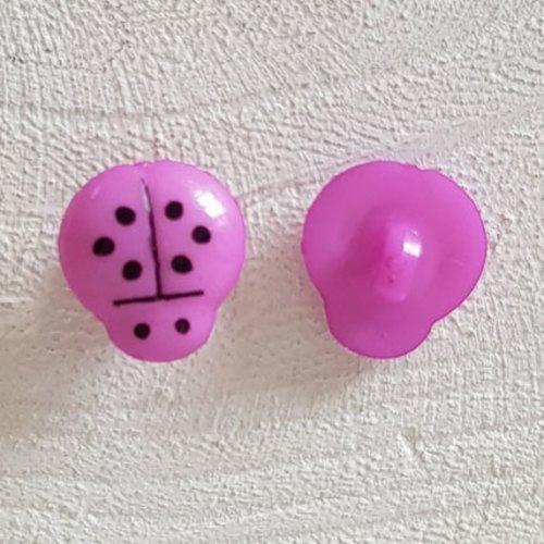 Boutons fantaisie, enfants, bébés motif coccinelle n°01-11 violet