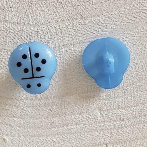 Boutons fantaisie, enfants, bébés motif coccinelle n°01-12 bleu ciel