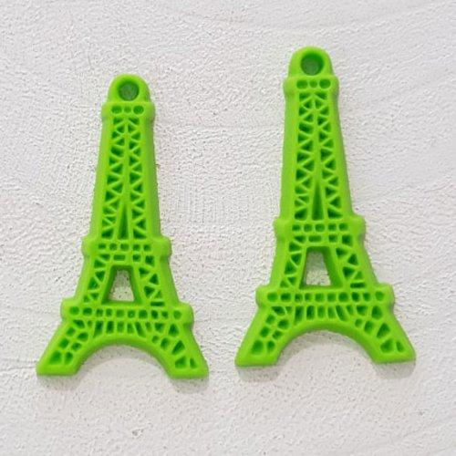 Breloque pendentif tour eiffel résine vert