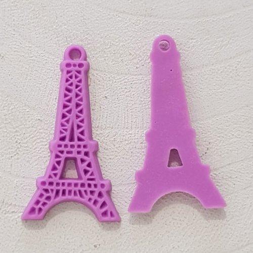 Breloque pendentif tour eiffel résine violet
