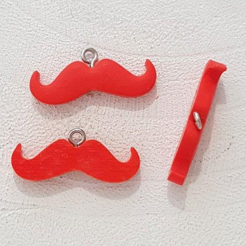 Breloque pendentif moustache n°05 rouge