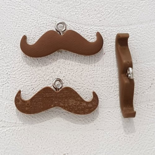 Breloque pendentif moustache n°09 marron clair