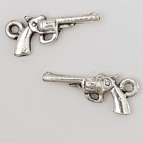 Breloque revolver pistolet n°01 argent x 10 pièces