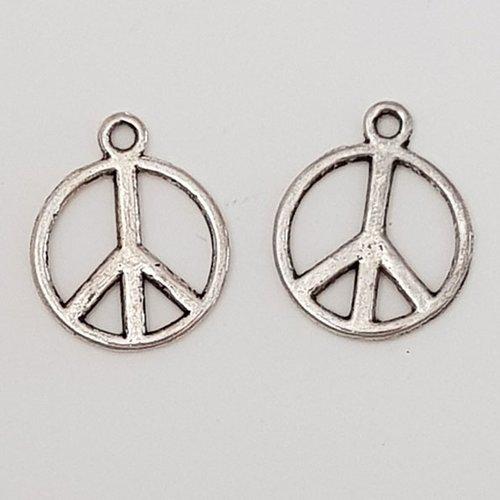 Breloque peace & love n°04 argent x 10 pièces