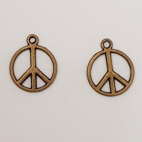 Breloque peace & love n°07 bronze x 10 pièces.
