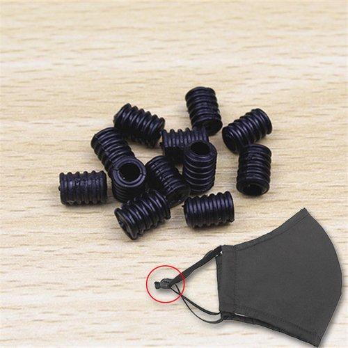 Attache elastique attache boucle pour corde de masque réglable noir x 100 pièces