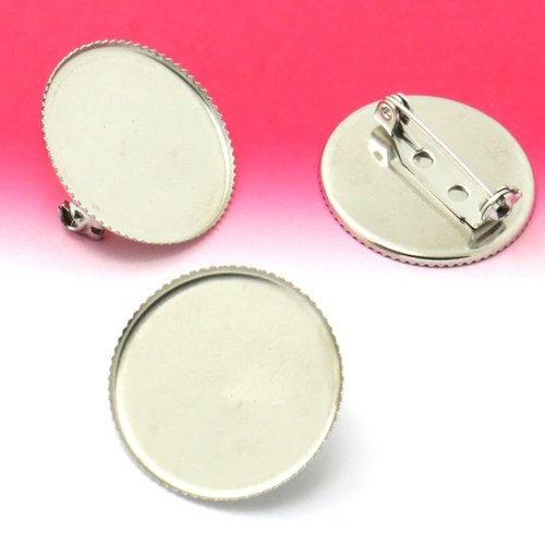 Support cabochon broche 20 mm acier inoxydable argent vieilli n°01