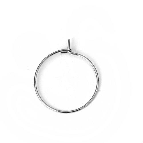 Support boucle d'oreille créole en acier inoxydable argent n°03-25 mm x 5 paires