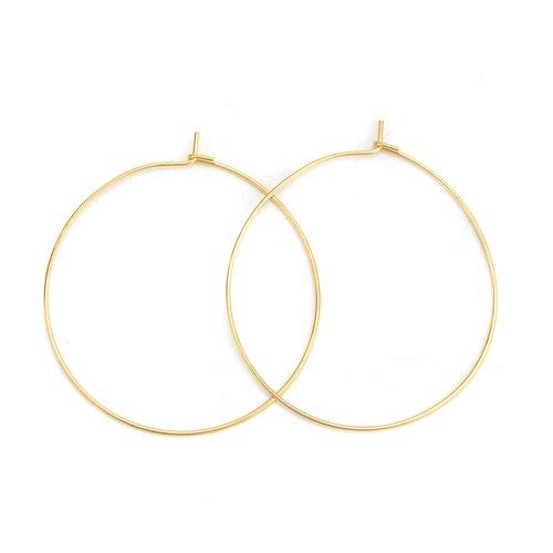 Support boucle d'oreille créole en acier inoxydable doré n°03-40 mm x 5 paires