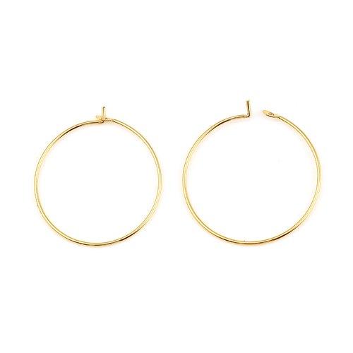 Support boucle d'oreille créole plaqué or 18k doré n°01-35 mm x 5 paires