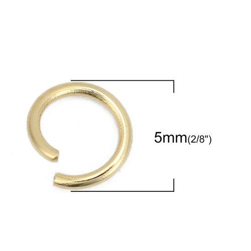 10 anneaux de jonction 5 mm ouverts plaqué or