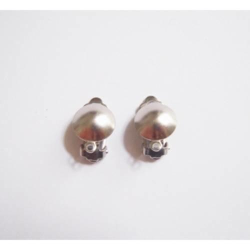 1 paire de boucle d'oreille à clip  bille coloris argent vieilli