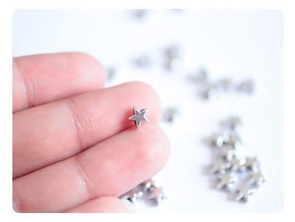 20 perles étoile - coloris argent