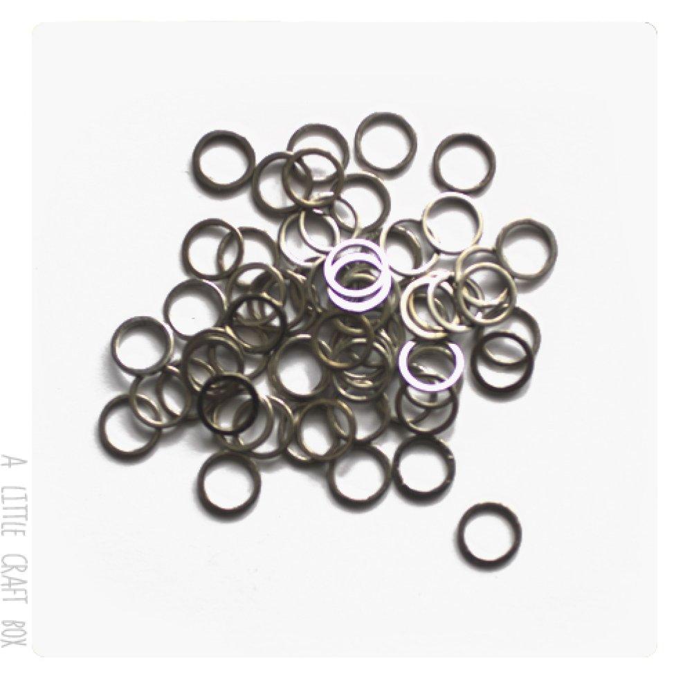 50 anneaux fermés 8mm coloris  argent vieilli
