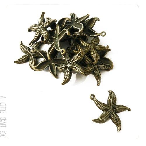 [gros lot] 20 breloques  etoile de mer  2 coloris bronze