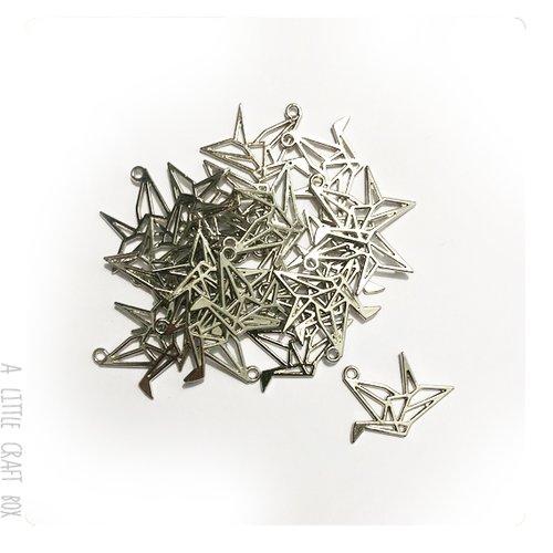 [gros lot] 15 pendentifs / breloques oiseau origami - argent vieilli
