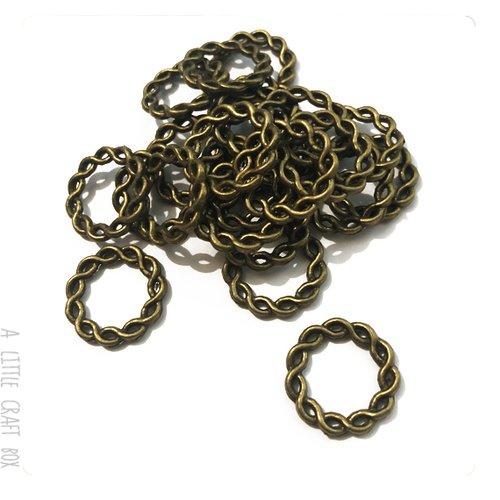 [gros lot] 20 anneaux fermés tressés 20mm  coloris bronze