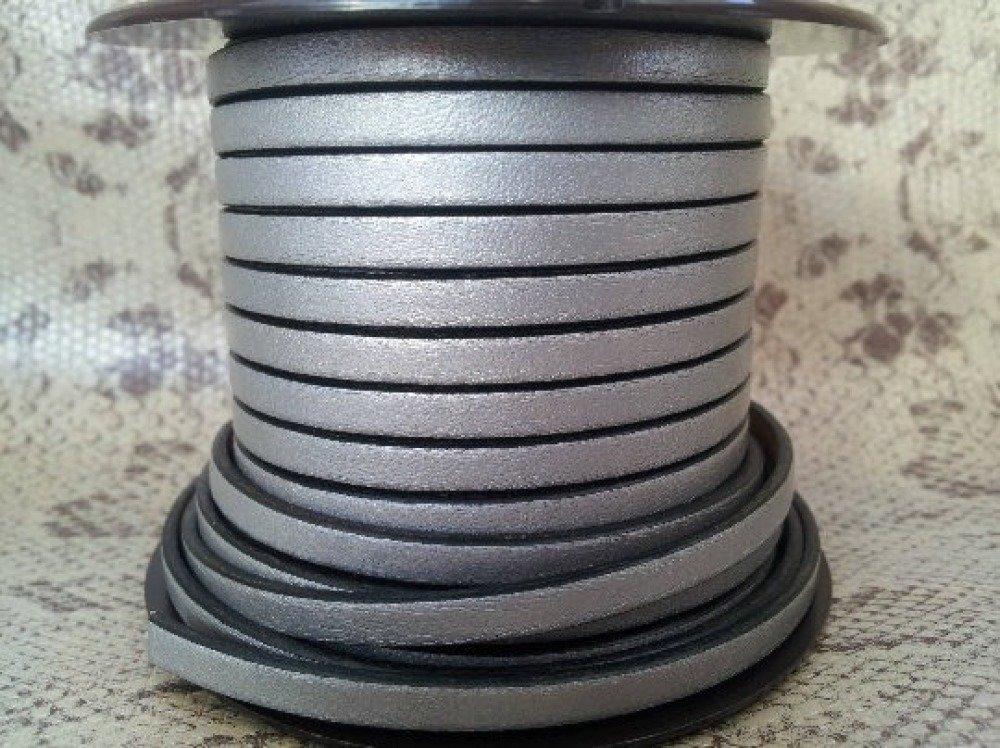 lanière cuir plat 5 mm argent clair mat de grande qualité européenne vendue par 50 cm