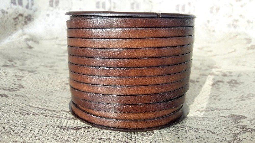 lanière cuir italien plat 5 mm marron de grande qualité européenne vendue par 50 cm