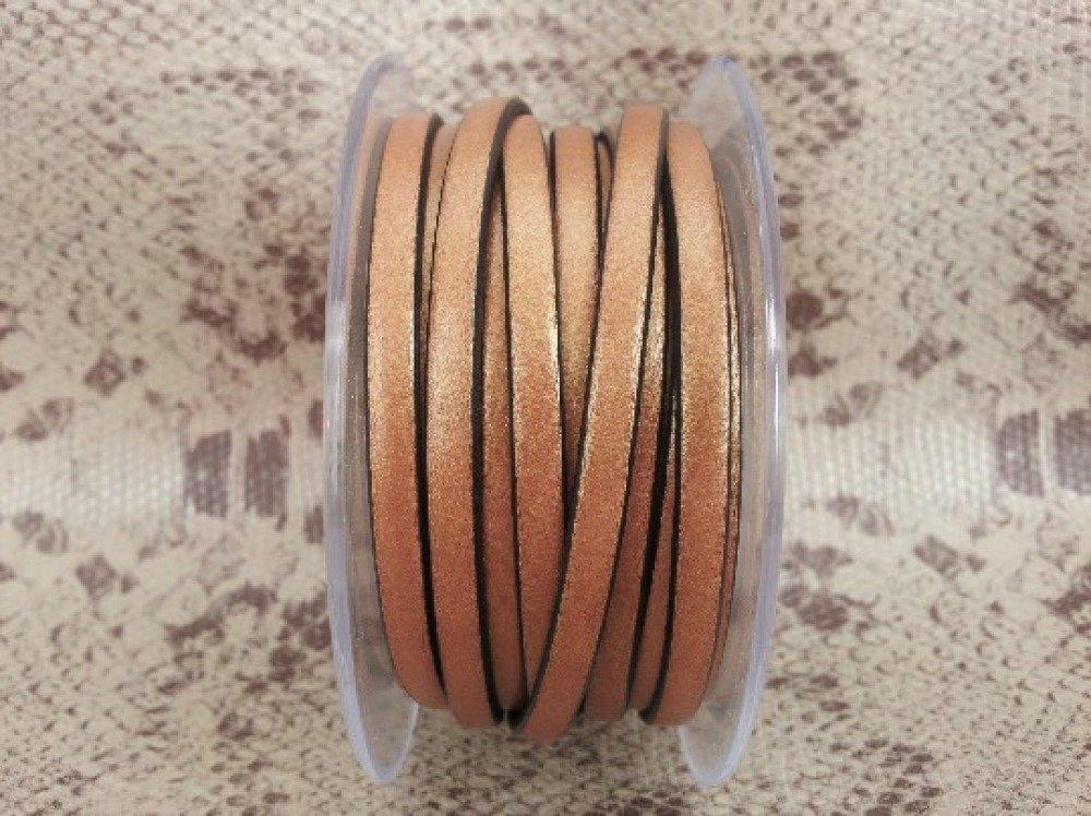 lanière cuir plat 5 mm cuivré de grande qualité européenne vendue par 50 cm