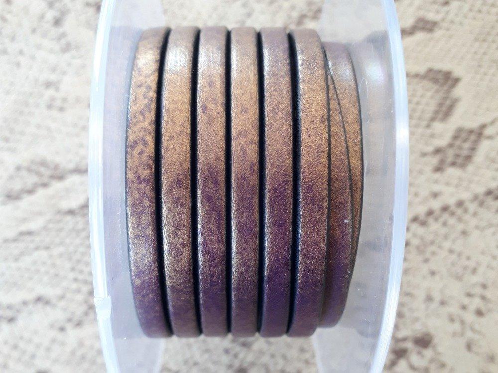 lanière cuir plat 5 mm violet doré de grande qualité européenne vendue par 50 cm