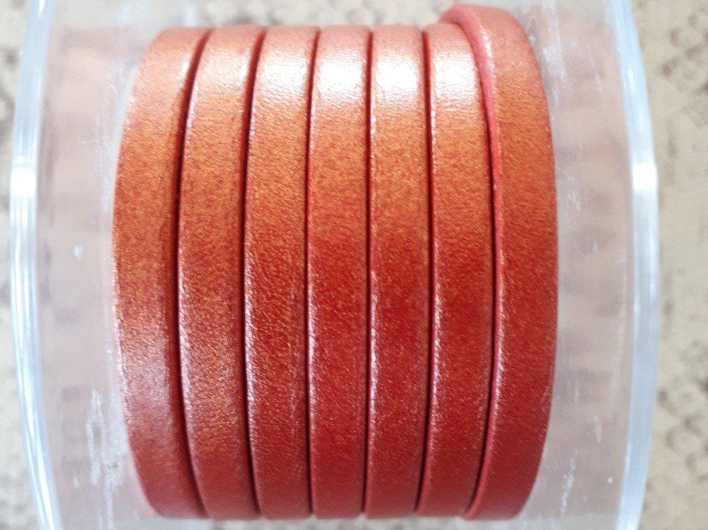 lanière cuir plat 5 mm rouge doré de grande qualité européenne vendu par mètre