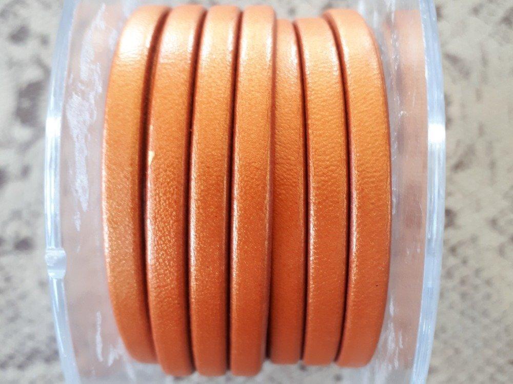 lanière cuir plat 5 mm orange doré de grande qualité européenne vendue par 50 cm