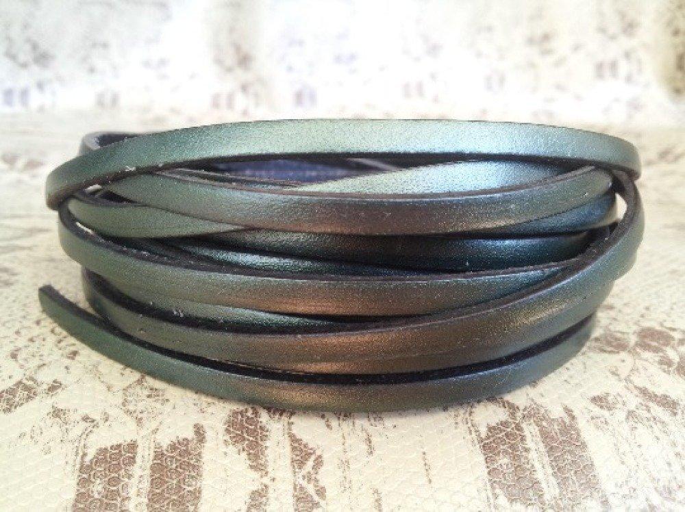 lanière cuir plat 5 mm vert métal de grande qualité européenne vendu par mètre