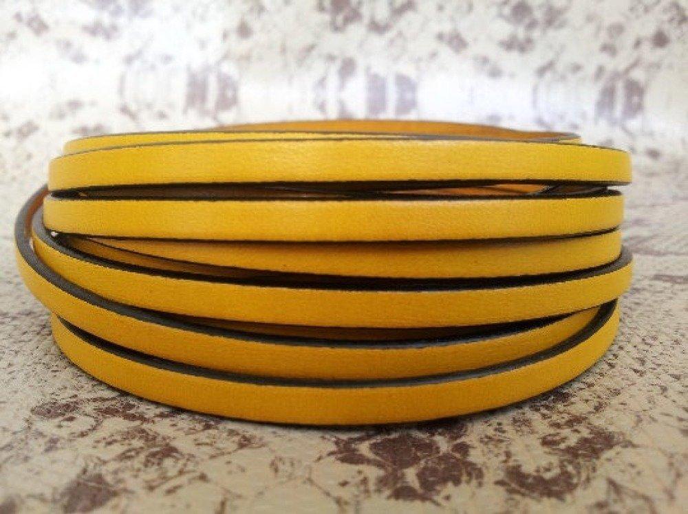 lanière cuir plat 5 mm jaune de grande qualité européenne vendue par 50 cm