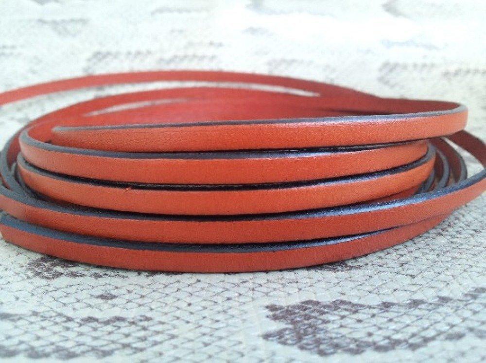 lanière cuir plat 5 mm orange de grande qualité européenne vendu par mètre