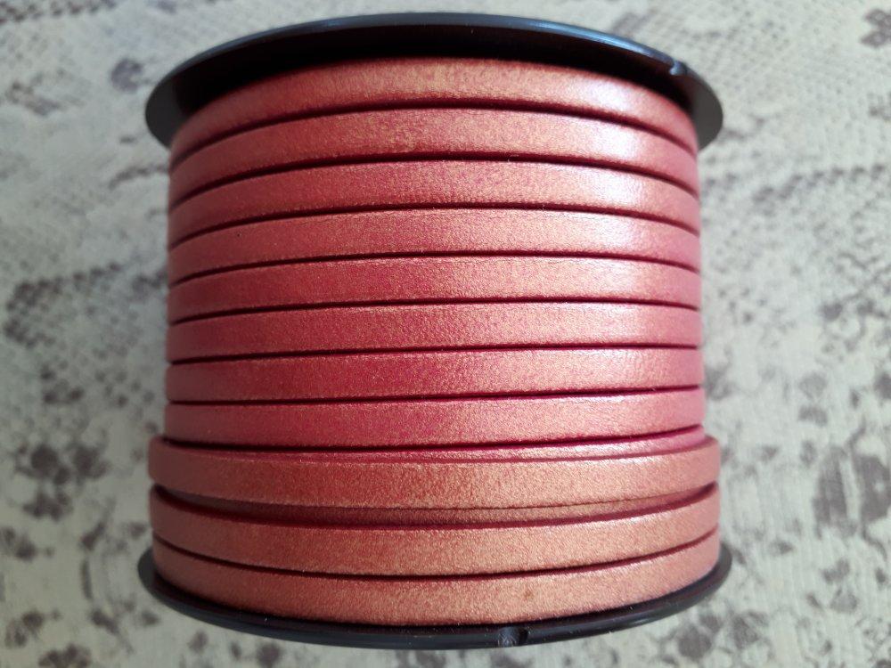 lanière cuir plat 5 mm bordeaux métal de grande qualité européenne vendu par mètre