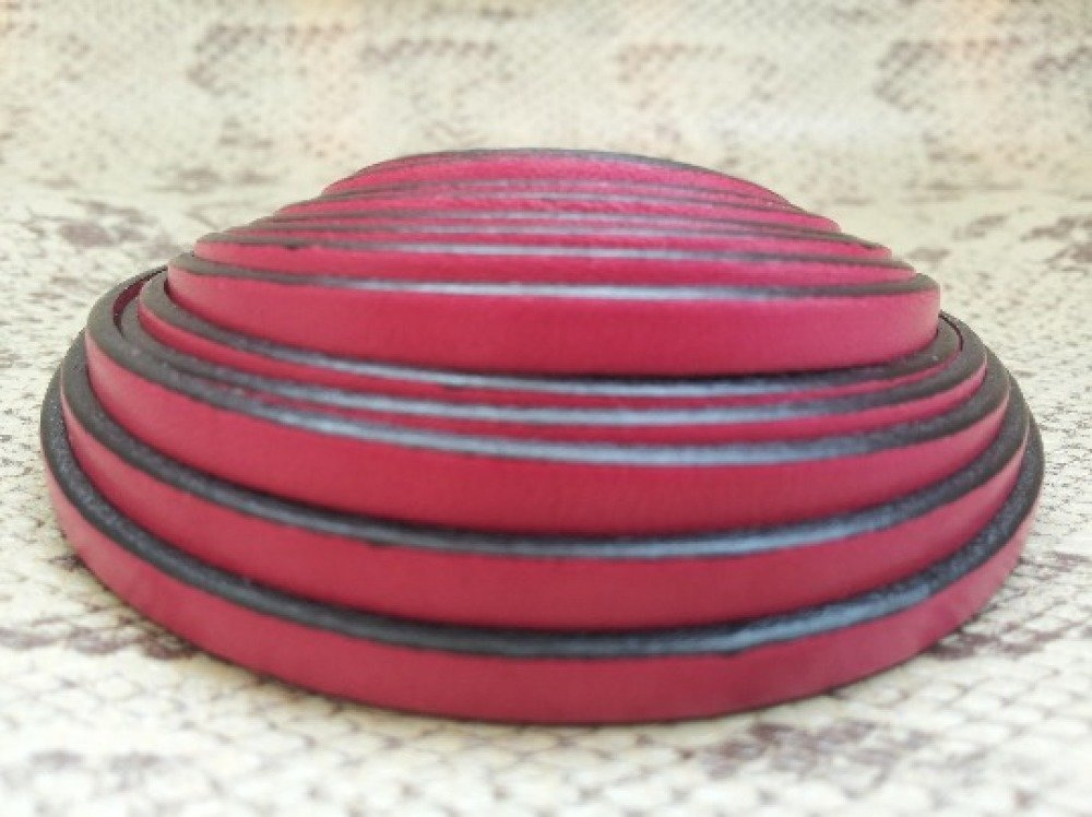 lanière cuir plat 5 mm fuchsia de grande qualité européenne vendue par 50 cm