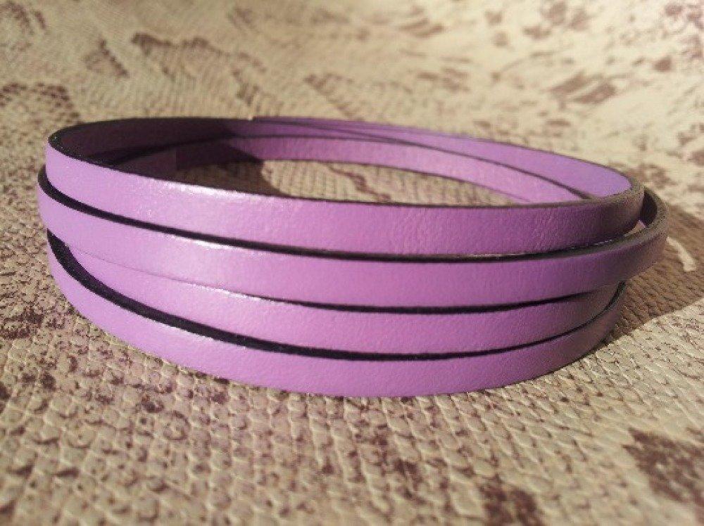 lanière cuir plat 5 mm lilas de grande qualité européenne vendue par 50 cm