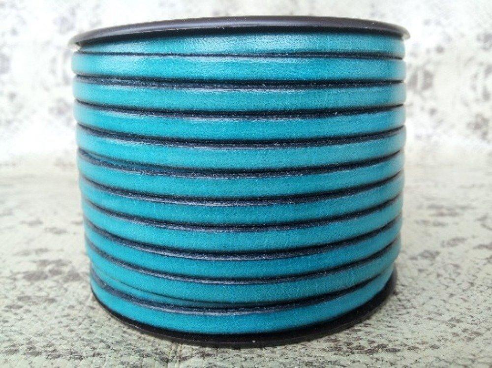 lanière cuir plat 5 mm turquoise de grande qualité européenne vendue par 50 cm