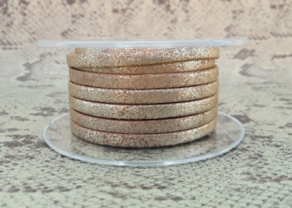 lanière cuir vieilli plat 5 mm marron or de grande qualité européenne vendu par mètre