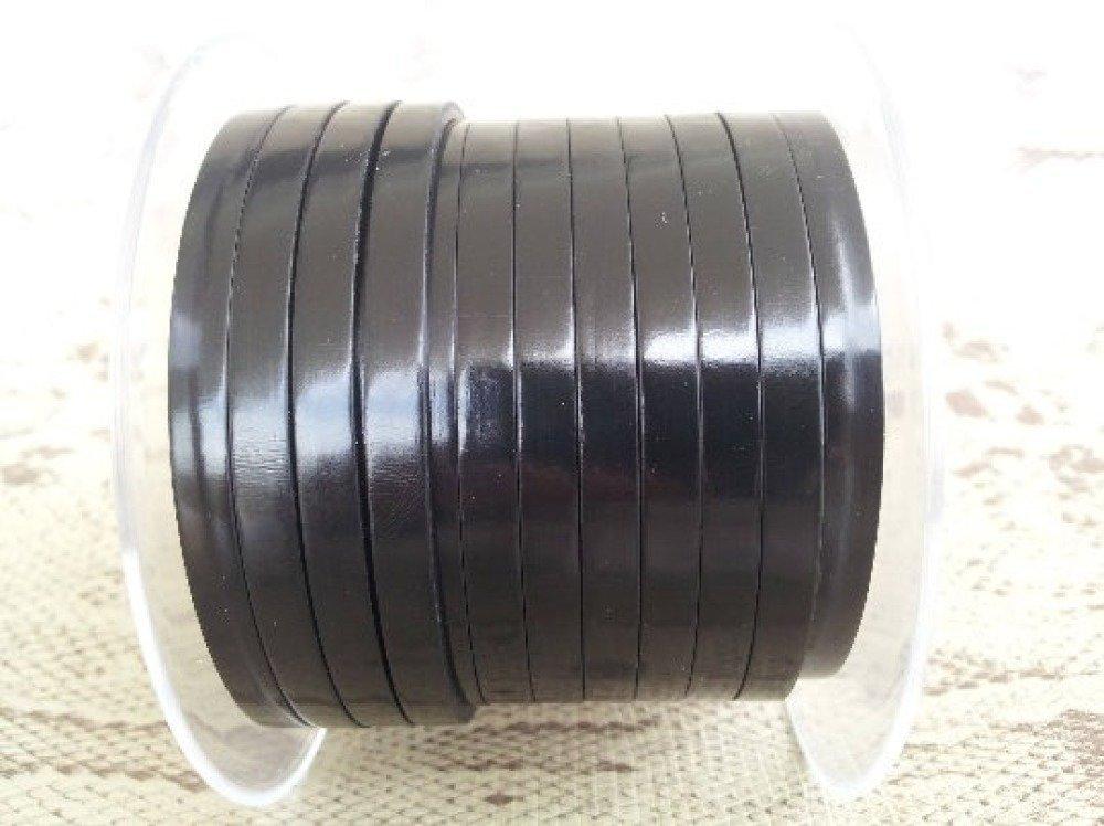 lanière cuir plat 5 mm noir miroir de grande qualité européenne vendu par mètre