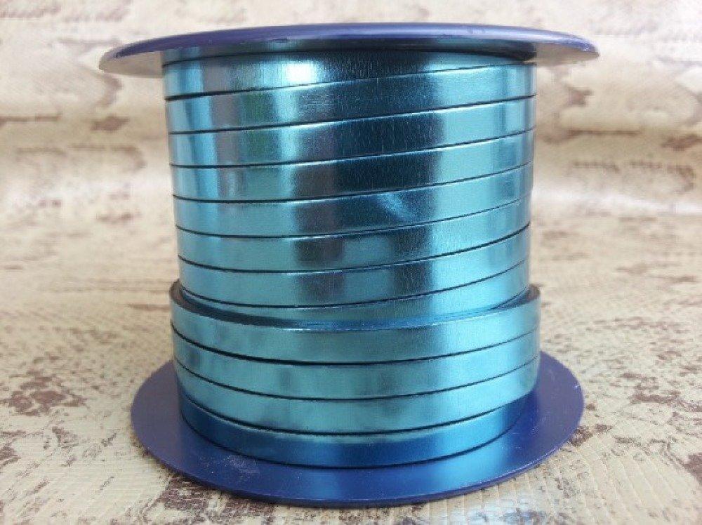 lanière cuir plat 5 mm bleu miroir de grande qualité européenne vendu par mètre