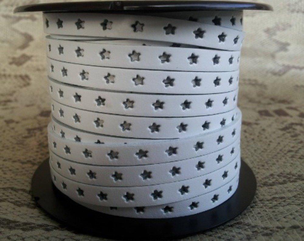 lanière cuir plat 6 mm blanc étoiles de grande qualité européenne vendu par mètre