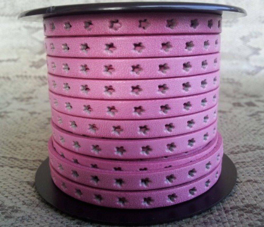 lanière cuir plat 6 mm rose étoiles de grande qualité européenne vendu par mètre