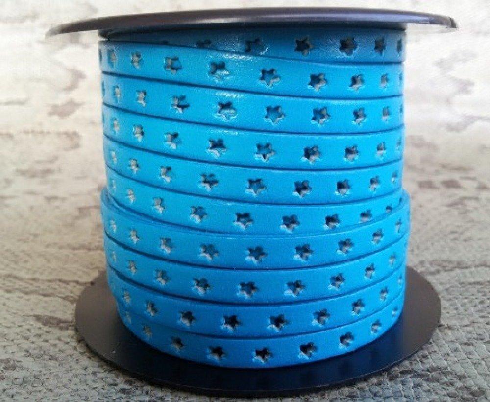 lanière cuir plat 6 mm bleu étoiles de grande qualité européenne vendu par mètre