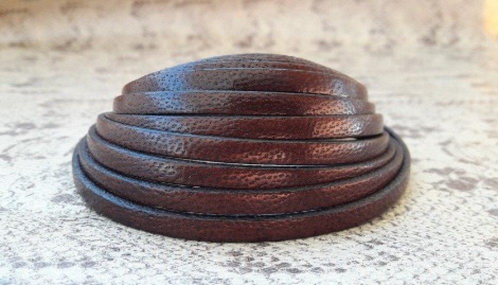 lanière cuir plat 5 mm marron foncé effet serpent de grande qualité européenne vendue par 50 cm