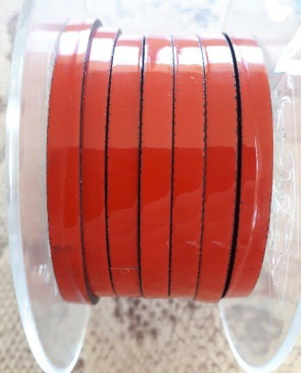 lanière cuir plat 5 mm corail verni de grande qualité européenne vendue par 50 cm