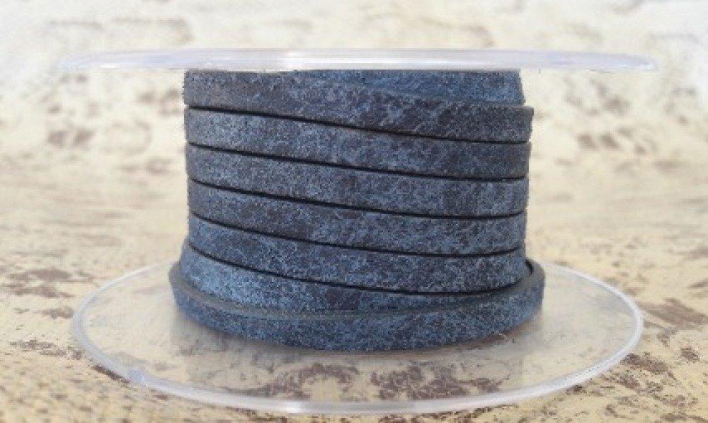 lanière cuir plat 5 mm bleu vintage de grande qualité européenne vendue par 50 cm