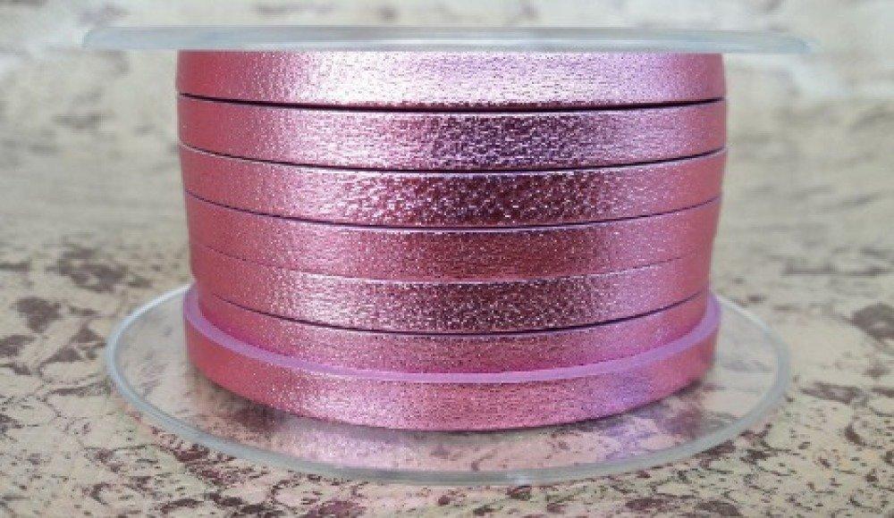 lanière cuir plat 5 mm rose métal de grande qualité européenne vendu par mètre