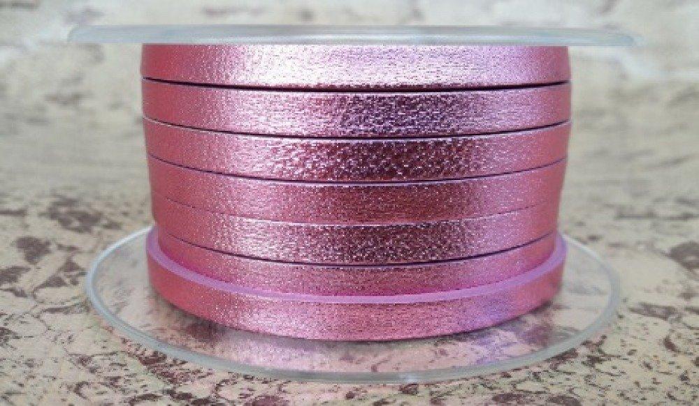 lanière cuir plat 5 mm rose métal de grande qualité européenne vendue par 50 cm