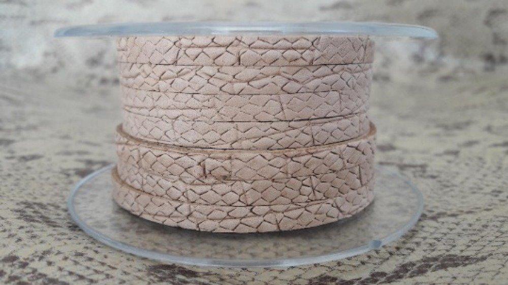Lanière souple cuir 5 mm effet serpent sable de grande qualité européenne vendue par 50 cm
