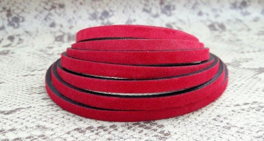 lanière cuir de nubuck plat 5 mm rouge foncé de grande qualité européenne vendue par 50 cm