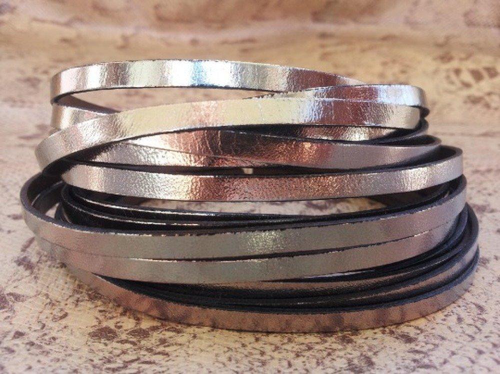 lanière cuir plat 5 mm gum métal de grande qualité européenne vendue par 50 cm