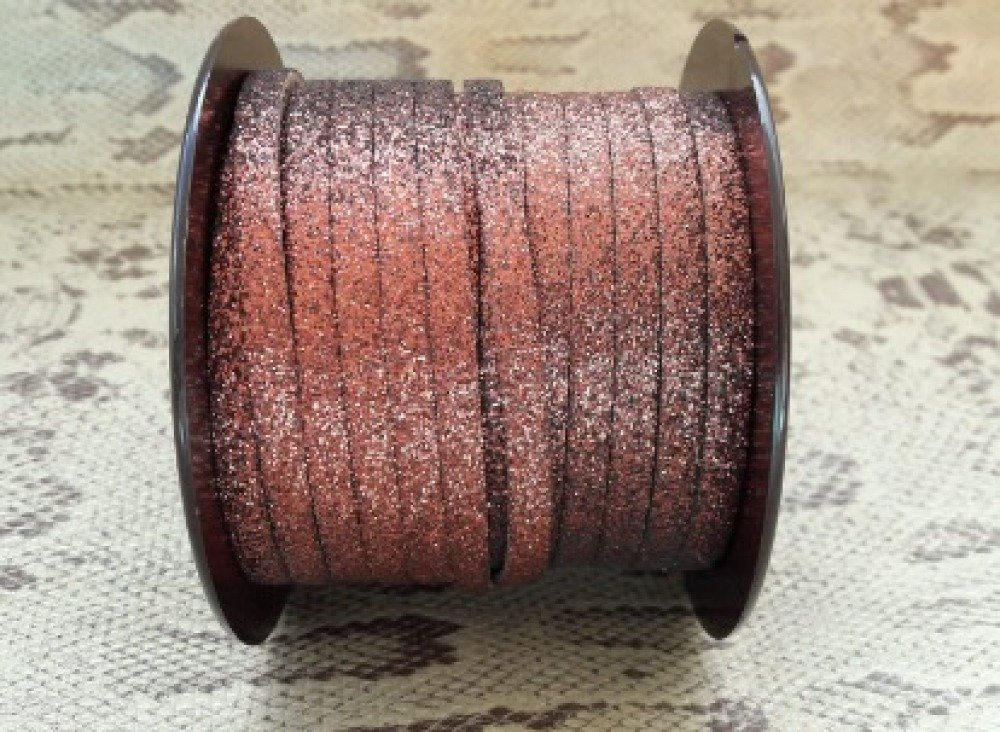 lanière cuir plat effet paillettes marron 5 mm de grande qualité européenne vendue par mètre