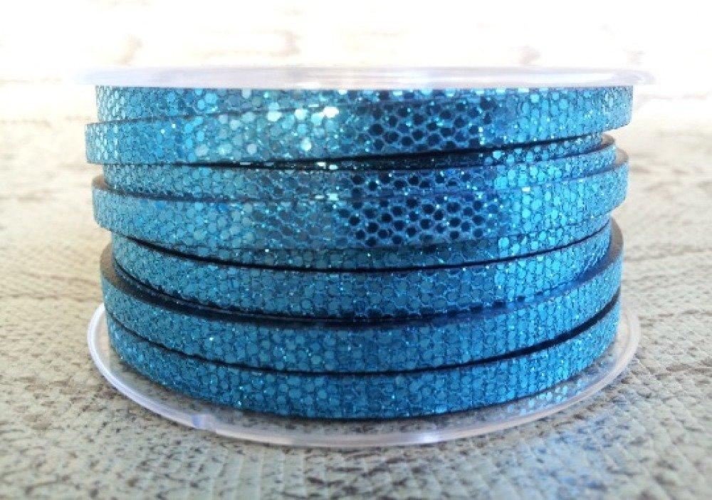 lanière cuir plat effet paillettes turquoise 5 mm de grande qualité européenne vendue par mètre